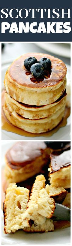 Scottish Pancakes - Sweet, fluffy, delicious pancakes served with honey and berries. Scottish Pancakes, Breakfast Dishes, Breakfast Recipes, Tasty Pancakes, Pancakes Cinnamon, Snacks Sains, Good Food, Yummy Food, Scottish Recipes