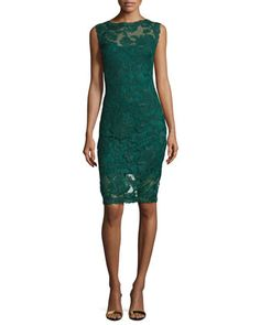 Short-Sleeve+Lace+Cocktail+Dress,+Seagrass+by+Tadashi+Shoji+at+Neiman+Marcus.