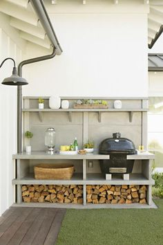 I like this set out for the BBQ area, a bit rustic for the new build but nice idea