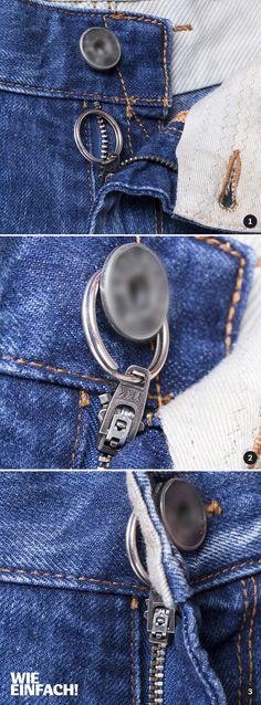 Jeder kennt das: Der Reißverschluss einer Hose öffnet sich von alleine. Der Trick: Man nimmt sich einen handelsüblichen Schlüsselring und fädelt diesen in die Reißverschluss-Lasche. Beim Schließen wird der Ring einfach über den Hosenknopf gezogen. Sobald man diesen zugemacht hat, sieht man den Schlüsselring nicht mehr und der Reißverschluss bleibt garantiert zu :D Fotos: Torsten Kollmer
