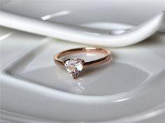 Trillion Cut 0.57ctw Fancy Pink Morganite Ring in 14K Rose gold Engagement Ring/ Wedding Ring/ Promise Ring
