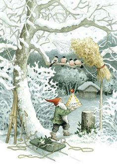 The artist - illustrator Inge Look. Discussion on LiveInternet - Russian Service Online Diaries Swedish Christmas, Christmas Gnome, Scandinavian Christmas, Christmas Art, Christmas Treats, Illustration Noel, Christmas Illustration, Vintage Christmas Cards, Christmas Postcards