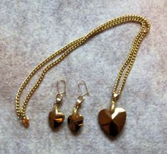 Lovely Matching Heart Earrings and Necklace set has a pendant and earring charms in an antique shade of gold plate, with almost a hint of