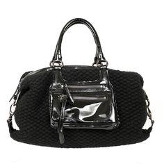Superbe sac Sonia Rykiel en laine vierge, mohair, cachemire et nylon (maille extensible) tricoté et cuir verni noir. Belle contenance 40cm x 30