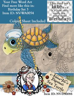 Sea Turtle Digital Stamp, Digi, Card Topper, Cartoon, Instant Download, ,  ID:NV-DS0086 By Nana Vic by NanaVicsDigitals on Etsy