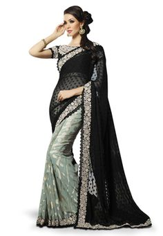 Black Faux Chiffon and Faux Georgette Brasso Saree with Blouse