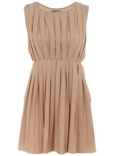 Nude sleeveless pleat dress discovered on Fantasy Shopper Pretty Outfits, Pretty Dresses, Nude Dress, Classy And Fabulous, Madame, Dress Me Up, Lady, Dress To Impress, Style Inspiration