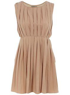 nude pleated dress