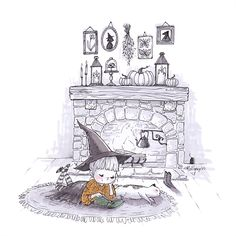 #Inktober Witch reading by the fire - Illustration by Alexandra Thompson