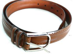 Johnson And Murphy Brown Textured leather Belt Size 38 #Johnsonandmurphy