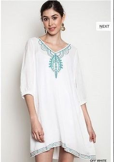 NWT Kori America Umgee Boho Embroidered A Line Off White Peasant Dress S M L