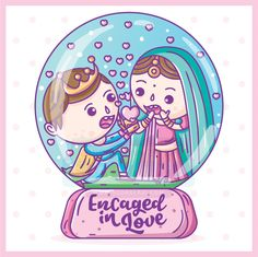 Indian Wedding Engagement (Ring Ceremony) einvitation / einvite / ecard and Printed Invites. Illustrated and Designed by SCD Balaji, Indian Illustrator. Explore more creative wedding invitations at www.scdbalaji.com