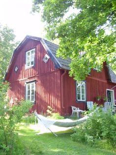 Kesän viettoa parhaimmillaan: punainen mökki ja riippukeinu pihalla.