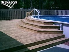 THIS deck with a rail and steps for safety? This way we don't have a deck so high in the air---just the smaller area of steps touching the edge of the uld we surround THIS deck with a rail and steps for safety? This way we don't have a deck so high in th Above Ground Pool Landscaping, Above Ground Pool Decks, Above Ground Swimming Pools, In Ground Pools, Square Above Ground Pool, Deck Landscaping, Oberirdische Pools, Cool Pools, Lap Pools