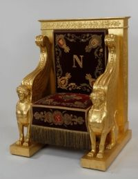 """Napoleon's Throne, with """"N"""" symbol, as well as many Greek/Egyptian motifs. King Chair, Throne Chair, Throne Room, Egyptian Furniture, Gothic Furniture, French Furniture, Roi George, Royal Chair, Royal Throne"""