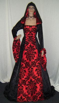 medieval renaissance vampire hooded gothic dress custom made. $242.00, via Etsy.
