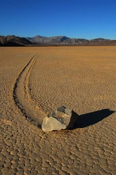 Sailing Stones - as of August 2014, timelapse video footage of rocks moving has been published, showing the rocks moving at low wind speeds within the flow of thin, melting sheets of ice. The scientists have thus identified the cause of the moving stones to be ice shove.