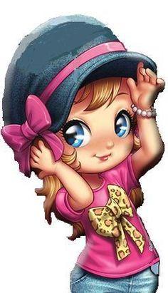 Bow on the shirt. Cute Cartoon Girl, Cartoon Pics, Cartoon Art, Bisous Gif, Cartoon Kunst, Digi Stamps, Cute Images, Cute Dolls, Cute Illustration