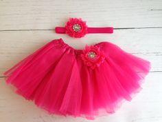 Hot Pink Tutu Set Baby Newborn by SomethingBleuShop on Etsy, $15.00