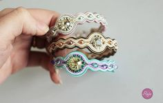 Crystal soutache bracelets, Reje creations 100% handmade in Italy