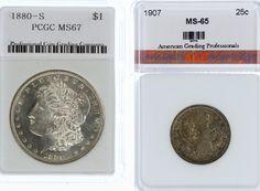 Lot 33: 1880-S $1 Unc. and 1907 25c Unc;