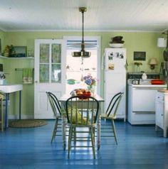 blue floor, green walls = kids bathrm