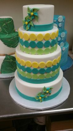 Pinwheels and circles wedding cake