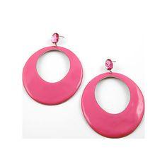 CRUISE Casual Jewelry ~ HOT PINK Big Hoop Earrings - eBay (i... - Polyvore