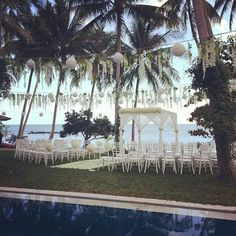 Dream Catchers Events Thailand, Koh Samui beach wedding planner // seaside lawn, beach front, natural, white, dreamy, decor hanging lanterns and flowers, pool side, wedding ceremony