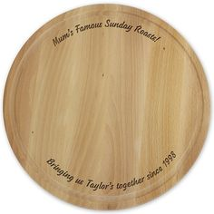 Personalised Engraved Plain Large Round Chopping Board - Great For The Cheeses!!
