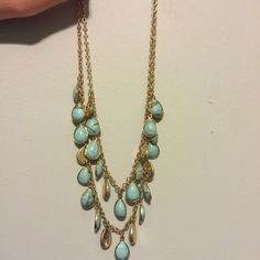 Double layer turquoise necklace! beautiful turquoise and gold necklace! Jewelry Necklaces
