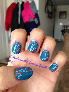Nail art with #gelish polish #dots #nailart #shortnails #gel