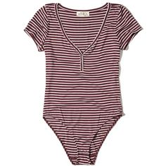 Hollister Short-Sleeve Henley Bodysuit ($25) ❤ liked on Polyvore featuring intimates, shapewear and burgundy stripe
