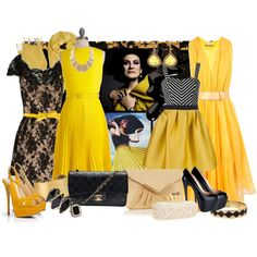 Black & Yellow Glamour, created by jlacosta on Polyvore