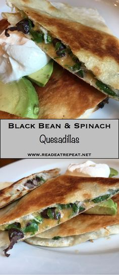Black Bean & Spinach Quesadillas are so quick and easy, and perfect for Meatless Monday!
