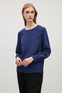 COS image 1 of Pleated cuff and hem top in Blue