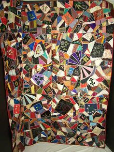 crazy quilt images   Victorian Antique Embellished Embroidered Crazy Quilt Front view.