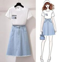 Small Fresh Suit Skirt Female New Style Age Reduction High Waist Denim Skirt Two-piece Dress is fashion, see more co ord outfits and short suits women online. Teen Fashion Outfits, Stylish Outfits, Fashion Models, Cute Outfits, Fashion Drawing Dresses, Fashion Illustration Dresses, Fashion Dresses, Mode Kawaii, High Waisted Denim Skirt