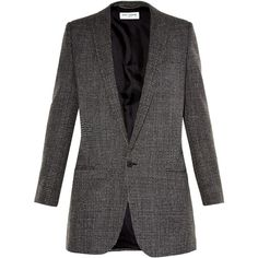 Saint Laurent Hound's-tooth single-breasted jacket (43 550 UAH) ❤ liked on Polyvore featuring outerwear, jackets, saint laurent, blazer, button jacket, white jacket, yves saint laurent jacket, single breasted jacket and oversized jackets