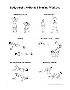 Bodyweight At-Home Full Body Slimming Printable Workout for Men & Women
