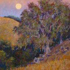 "Twilight Breeze 16 x 16"" pastel landscape painting by Clark Mitchell  pastel paintings, original art, art for sale, landscape paintings, California paintings, plein air, plein air paintings, nocturnes, full moon, canvas artwork for sale, original fine art for sale, original oil paintings for sale, framed wall art, painted landscape, great landscape artists, scenery paintings, beautiful landscape paintings,"