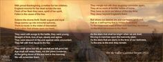 The Ode comes from For the Fallen, a poem by English poet and writer Laurence Binyon and was first published in London in the Times newspaper in 1914. The verse, which became the League Ode (RSL) was already used in association with commemoration ANZAC services in Australia in 1921.