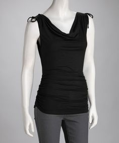 Take a look at this Black Ruched Cowl Neck Top by Neesha on #zulily today!