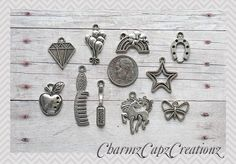10pc My Little Pony Silver Charm Pendant Lot Set Collection// Rings,Clasps Bails