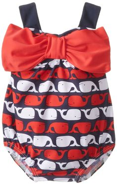 ud Pie Baby-Girls Newborn Whale Bow Bubble Swimsuit, Blue, 0-6 Months... I need this!! I love baby whales!