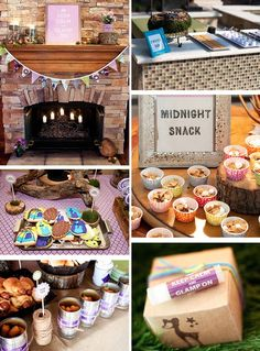 This link goes somewhere weird...or maybe it's my computer. Check out the ideas from the picture though. Love the midnight snack...looks like graham cracker cereal, small mallows, and chocolate chips. S'more bar and using the cans as containers. @Brittney Anderson Anderson Hjelseth