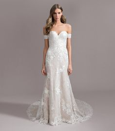 fe159963 Style 7957 Ivy Ti Adora by Allison Webb birdal gown - Ivory/Cashmere lace  and English net fit-to-flare gown. Strapless sweetheart neckline with  removable ...