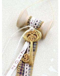 Γούρι Spool Checked Ribbon & Wish Key Lucky Charm, Charms, Ribbon, Key, Touch, Christmas, Handmade, Tape, Xmas