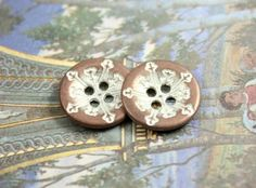 Snowflake Metal Buttons , Copper White Patina Color , 4 Holes , 0.51 inch , 10 pcs by Lyanwood, $5.00