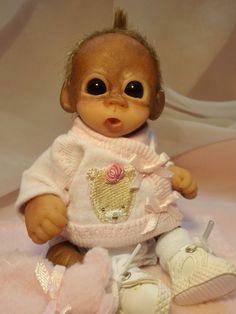 OOAK Baby Orangutan Monkey Girl Sculpted Polymer Clay Art Doll Teddy Bear #BreathofHeaven